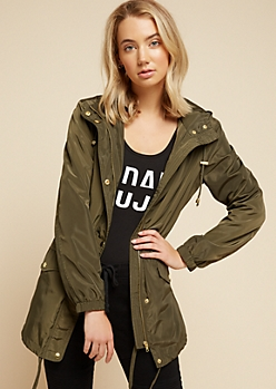 Olive Drawstring Waist Hooded Anorak Windbreaker