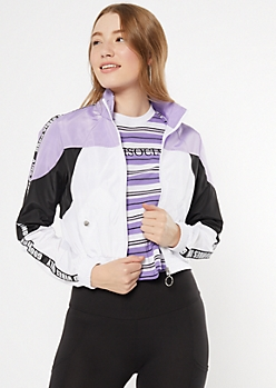 Lavender Colorblock Good Vibes Side Striped Windbreaker