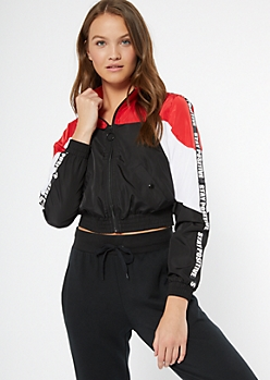 Red Colorblock Stay Positive Side Striped Windbreaker