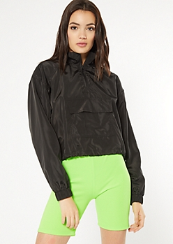 Black Half Zip Drawstring Cropped Windbreaker