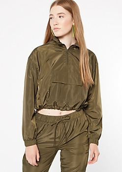 Olive Half Zip Drawstring Cropped Windbreaker