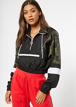 Camo Print Colorblock Striped Pullover Windbreaker