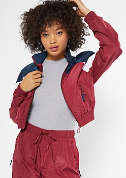 Burgundy Colorblock Mock Neck Windbreaker