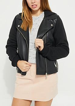 Black Faux Leather Knit Sleeve Hooded Jacket