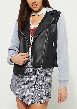 Gray Faux Leather Knit Sleeve Hooded Jacket