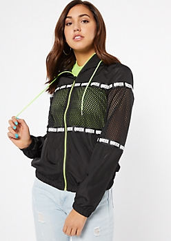 Black Mesh Queen Striped Windbreaker