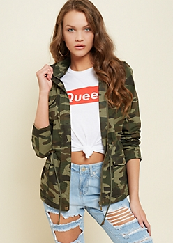 Olive Camo Print Hooded Anorak Jacket