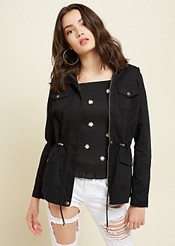 Black Hooded Twill Anorak Jacket
