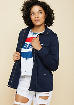 Navy Hooded Twill Anorak Jacket