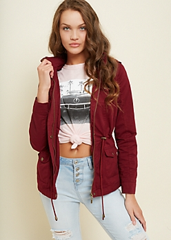 Burgundy Hooded Twill Anorak Jacket