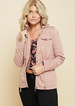 Light Pink Hooded Twill Anorak Jacket