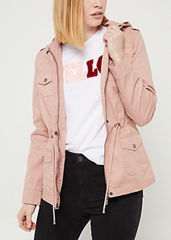 Pink Hooded Twill Anorak