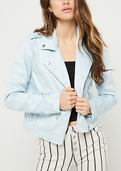 Light Blue Faux Suede Moto Jacket
