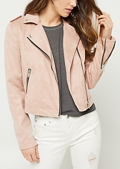 Light Pink Faux Suede Moto Jacket