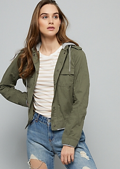 Green Snap Front Hooded Twill Cropped Jacket