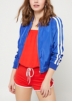 Royal Blue Varsity Stripe Track Jacket