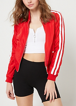 Red Varsity Stripe Track Jacket