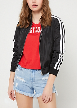 Black Varsity Stripe Track Jacket