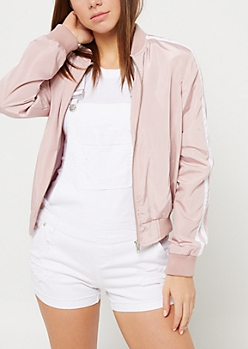 Light Pink Varsity Stripe Track Jacket