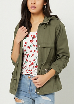 Olive Faux Flap Hooded Anorak Jacket