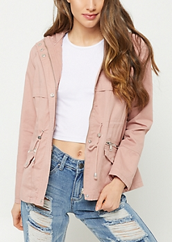 Pink Faux Flap Hooded Anorak Jacket