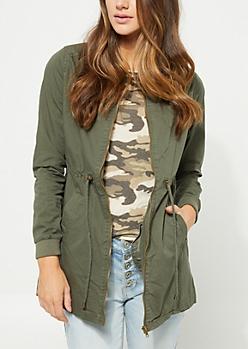 Olive Lightweight Cinched Waist Jacket