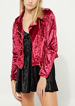 Red Crushed Velvet Moto Jacket