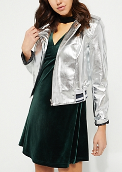 Silver Faux Leather Moto Jacket