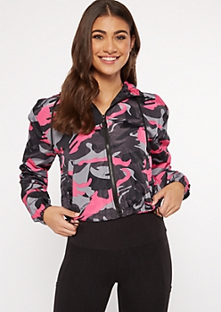 Fuchsia Camo Print Zip Cropped Windbreaker