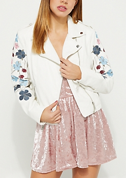 Cream Floral Embroidered Moto Jacket