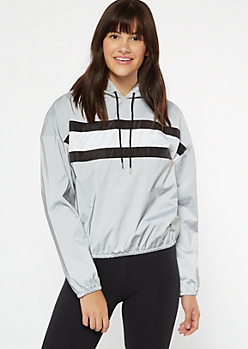 Silver Reflective Striped Pullover Windbreaker