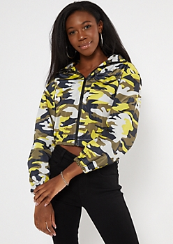 Yellow Camo Print Cropped Windbreaker