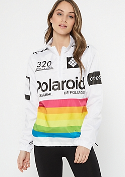 White Polaroid Striped Windbreaker