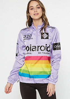 Lavender Polaroid Striped Windbreaker
