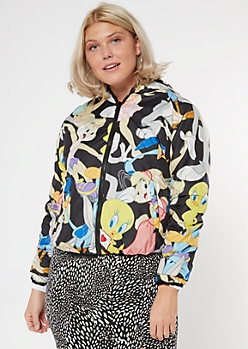 Black Reversable Sherpa Looney Tunes Jacket