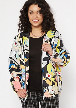Black Looney Tunes Print Zip Up Hoodie
