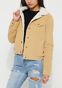 Brown Faux Sherpa Lined Corduroy Trucker Jacket