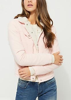Pink Corduroy Sherpa Lined Trucker Jacket