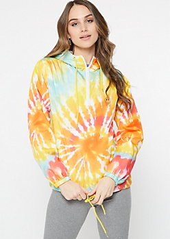 Rainbow Tie Dye Drippy Smiley Graphic Windbreaker