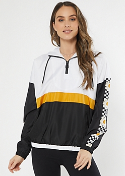 Black Colorblock Daisy Checkered Print Windbreaker