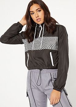 Black Illusion Checkered Print Cropped Windbreaker