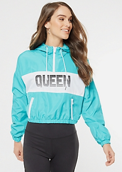 Turquoise Colorblock Queen Graphic Windbreaker