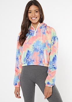 Bright Tie Dye Cropped Half Zip Windbreaker