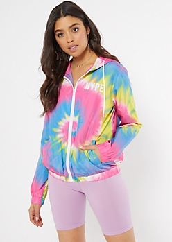 Rainbow Tie Dye Hype Graphic Windbreaker