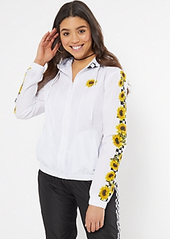 White Checkered Print Sunflower Vibes Graphic Windbreaker
