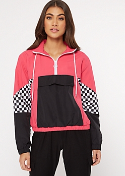 Neon Pink Colorblock Checkered Print Windbreaker