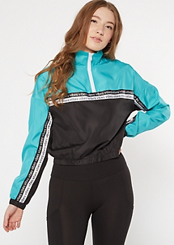 Teal Colorblock Vibes Striped Windbreaker