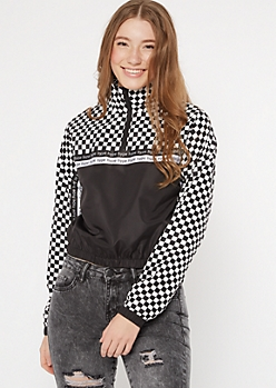 Checkered Print Colorblock Hype Striped Windbreaker