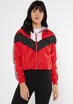 Red Chevron Colorblock Checkered Print Windbreaker