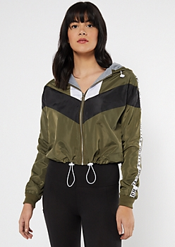 Olive Chevron Colorblock Hustle Windbreaker